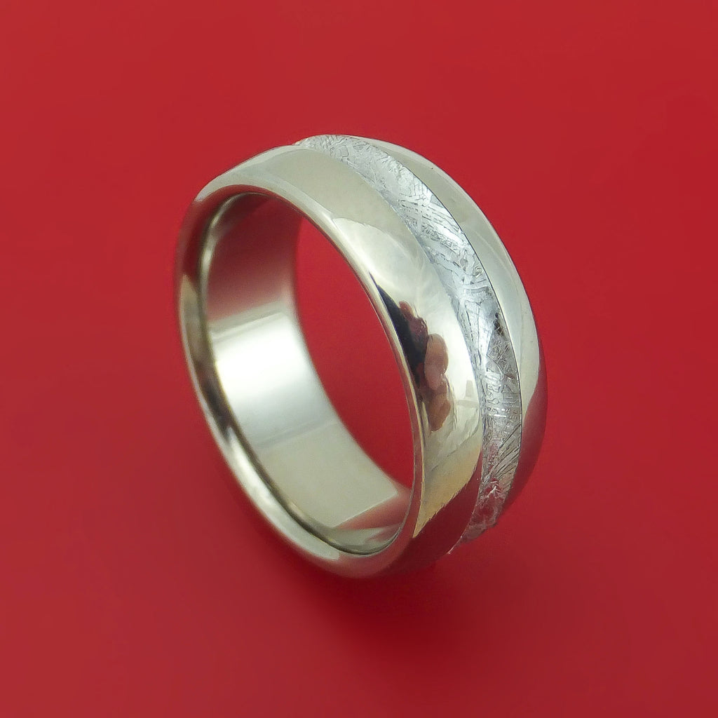 Titanium Ring with Concave Gibeon Meteorite Inlay Custom Made Band
