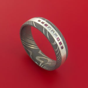 Damascus Steel Ring with Sterling Silver Inlay Diamonds and Rubies Custom Made Band