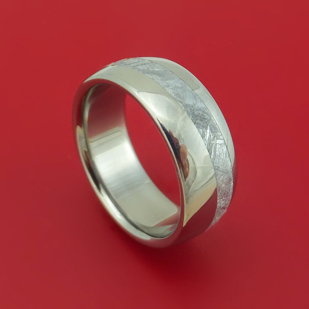 Titanium Ring with Diagonal Gibeon Meteorite Inlay Custom Made Band