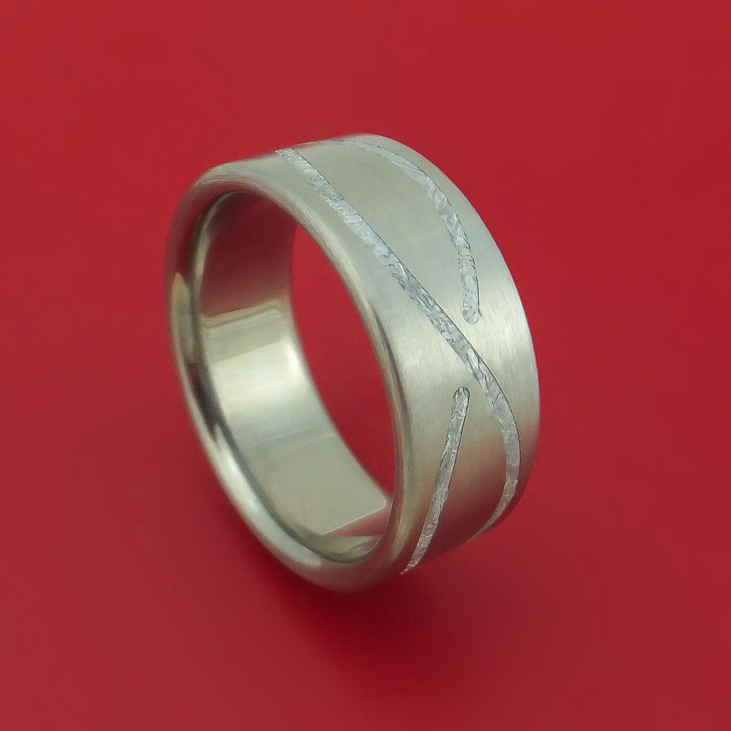 Titanium Ring with Infinity Pattern Gibeon Meteorite Inlay Custom Made Band