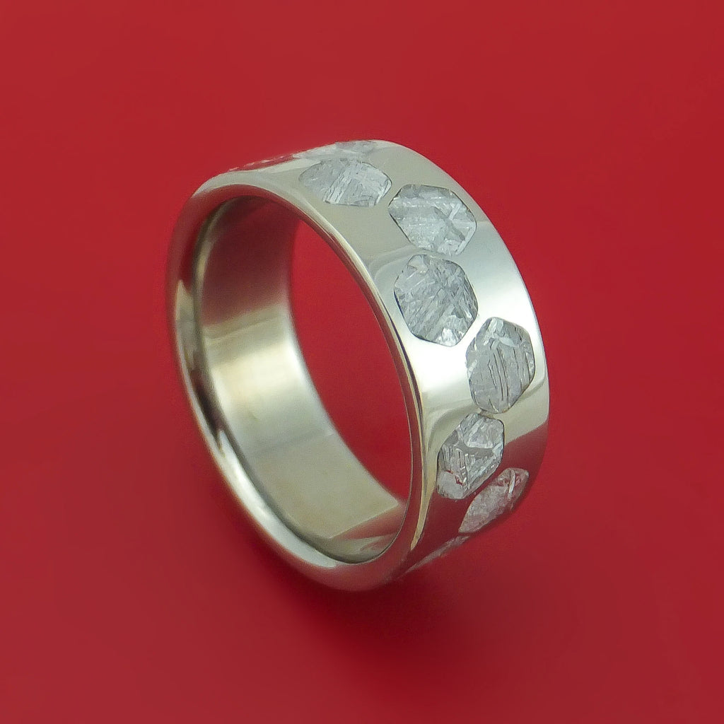 Titanium Ring with Hexagon Gibeon Meteorite Inlay Custom Made Band