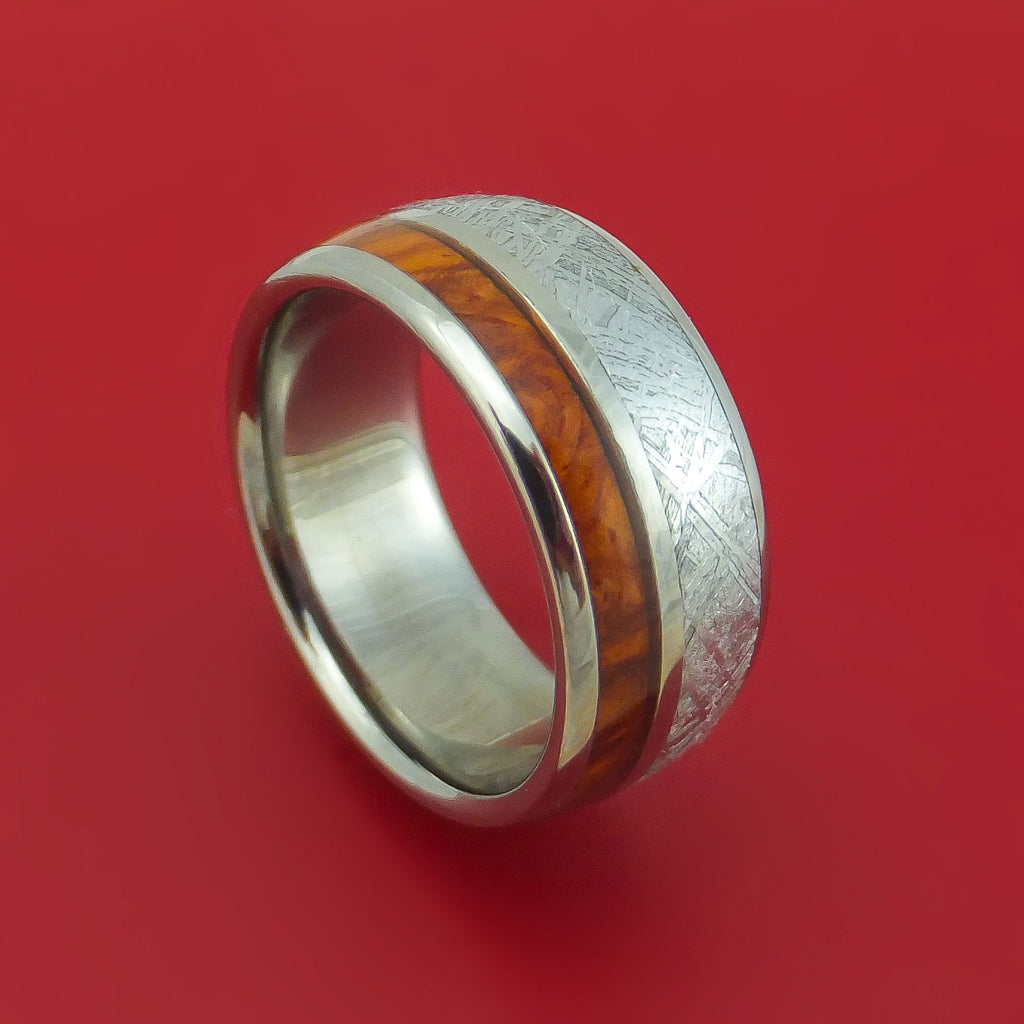Titanium Ring with Gibeon Meteorite and Hardwood Inlays Custom Made Band