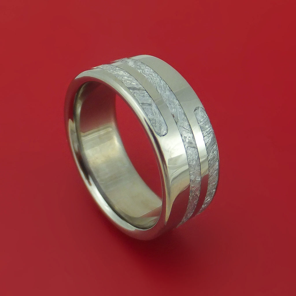 Titanium Ring with Spiral Pattern Gibeon Meteorite Inlay Custom Made Band