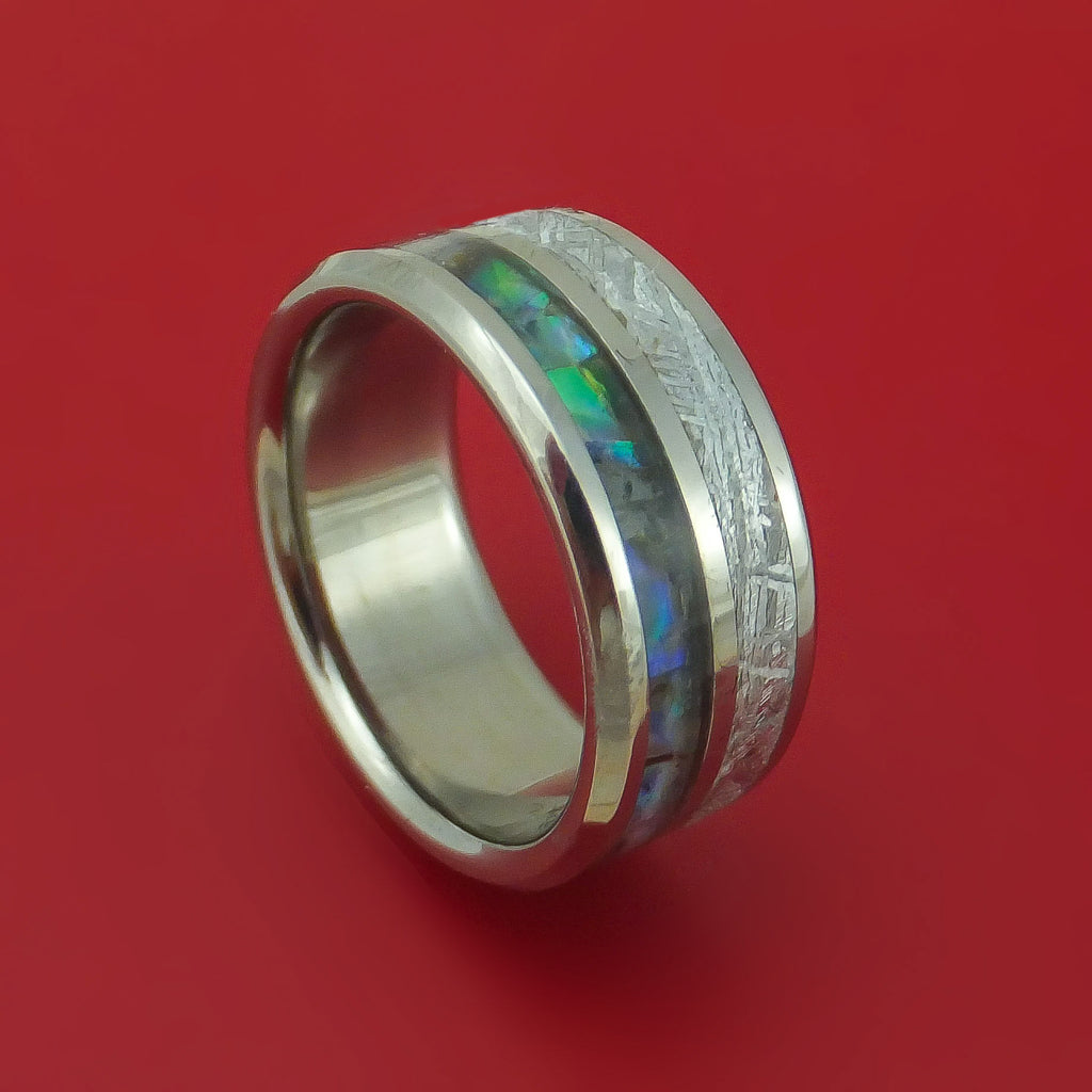 Titanium Ring with Gibeon Meteorite and Abalone Inlays Custom Made Band