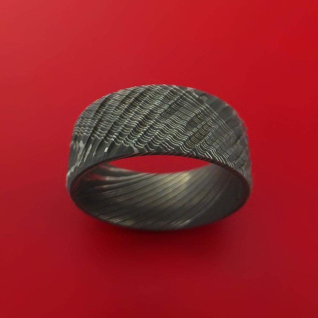 Damascus Steel Tree Bark Carved Ring Custom Made Band - Stonebrook Jewelry  - 2