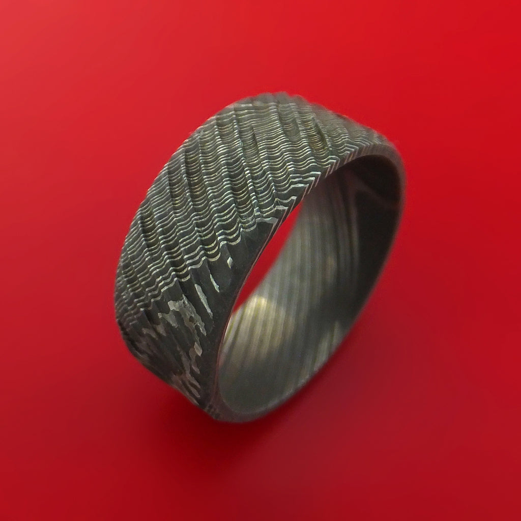 Damascus Steel Tree Bark Carved Ring Custom Made Band - Stonebrook Jewelry  - 3