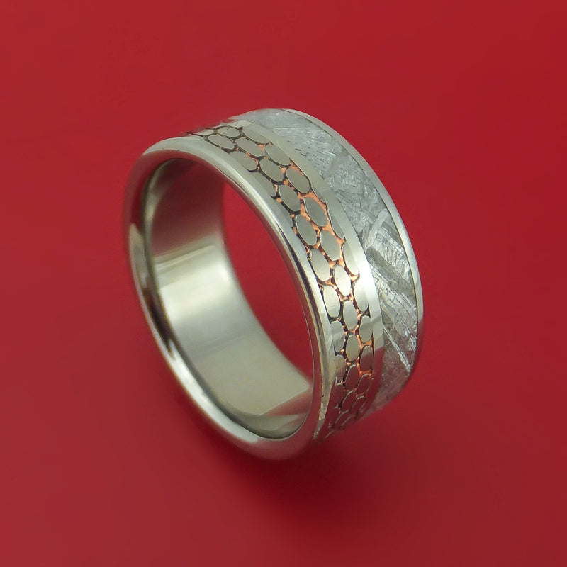 Titanium Ring with Etched Superconductor and Gibeon Meteorite Inlays Custom Made Band