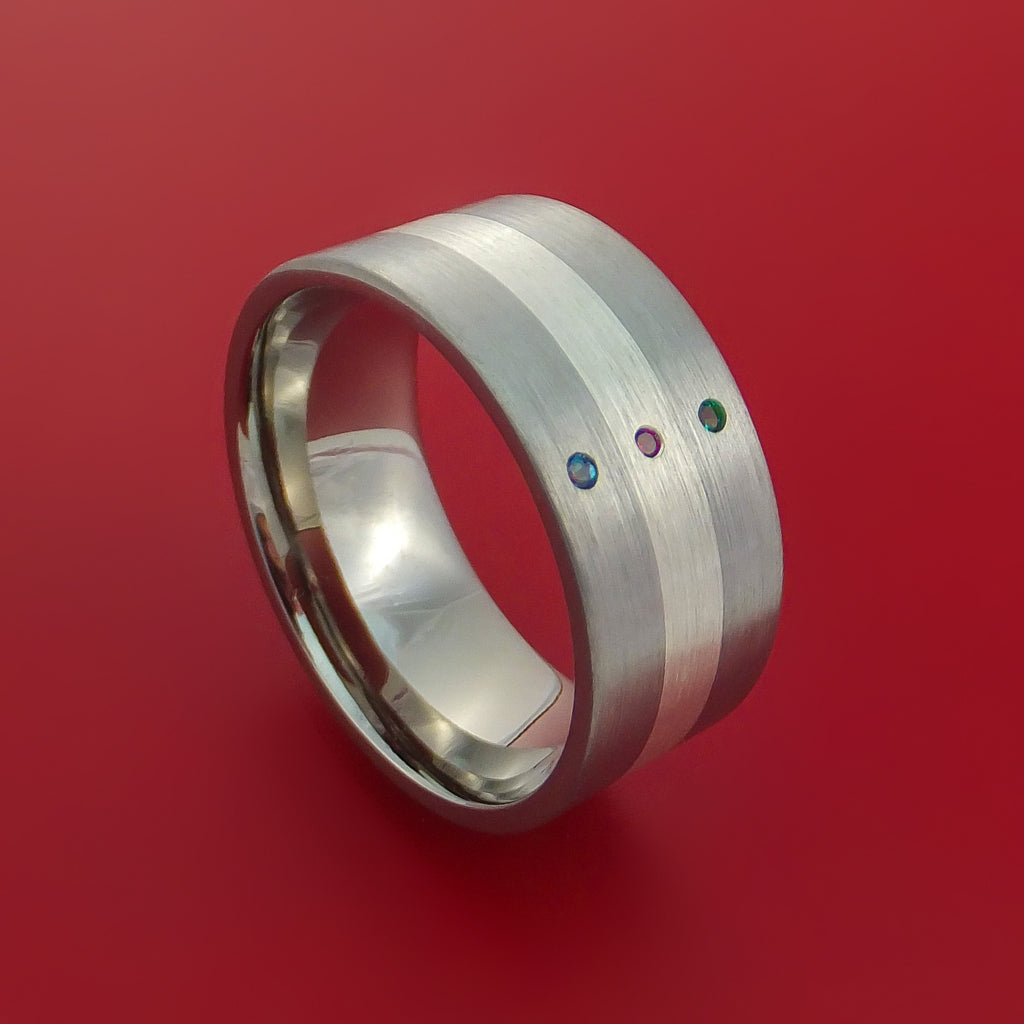 Wide Titanium Band with Sterling Silver inlay with Emerald, Ruby and Alexandrite Custom Made