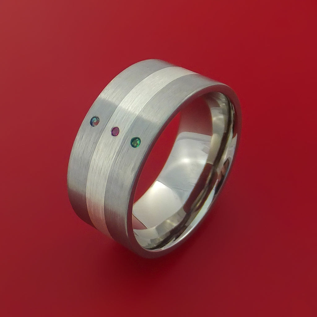 Wide Titanium Band with Sterling Silver inlay with Emerald, Ruby and Alexandrite Custom Made by Stonebrook Jewelry