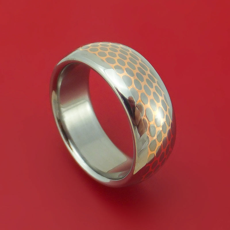 Titanium and Superconductor Ring Custom Made Titanium-Niobium and Copper Band