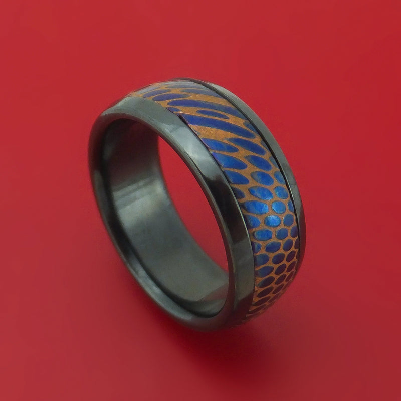 Black Zirconium and Anodized Etched Superconductor Ring Custom Made Titanium-Niobium and Copper Band