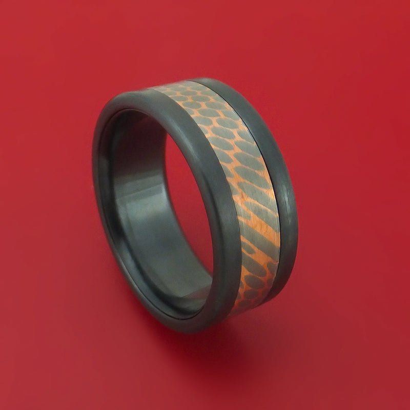 Black Zirconium and Superconductor Ring Custom Made Titanium-Niobium and Copper Band