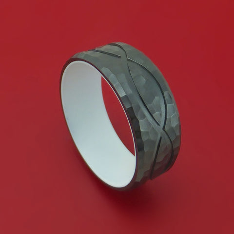 Black Zirconium Hammered Infinity Design Ring with Cerakote Sleeve Custom Made Band