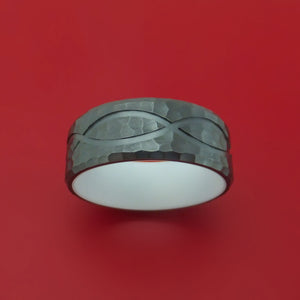 Black Zirconium Ring with Infinity Milled Celtic Design Inlay and Interior Cerakote Sleeve Custom Made Band