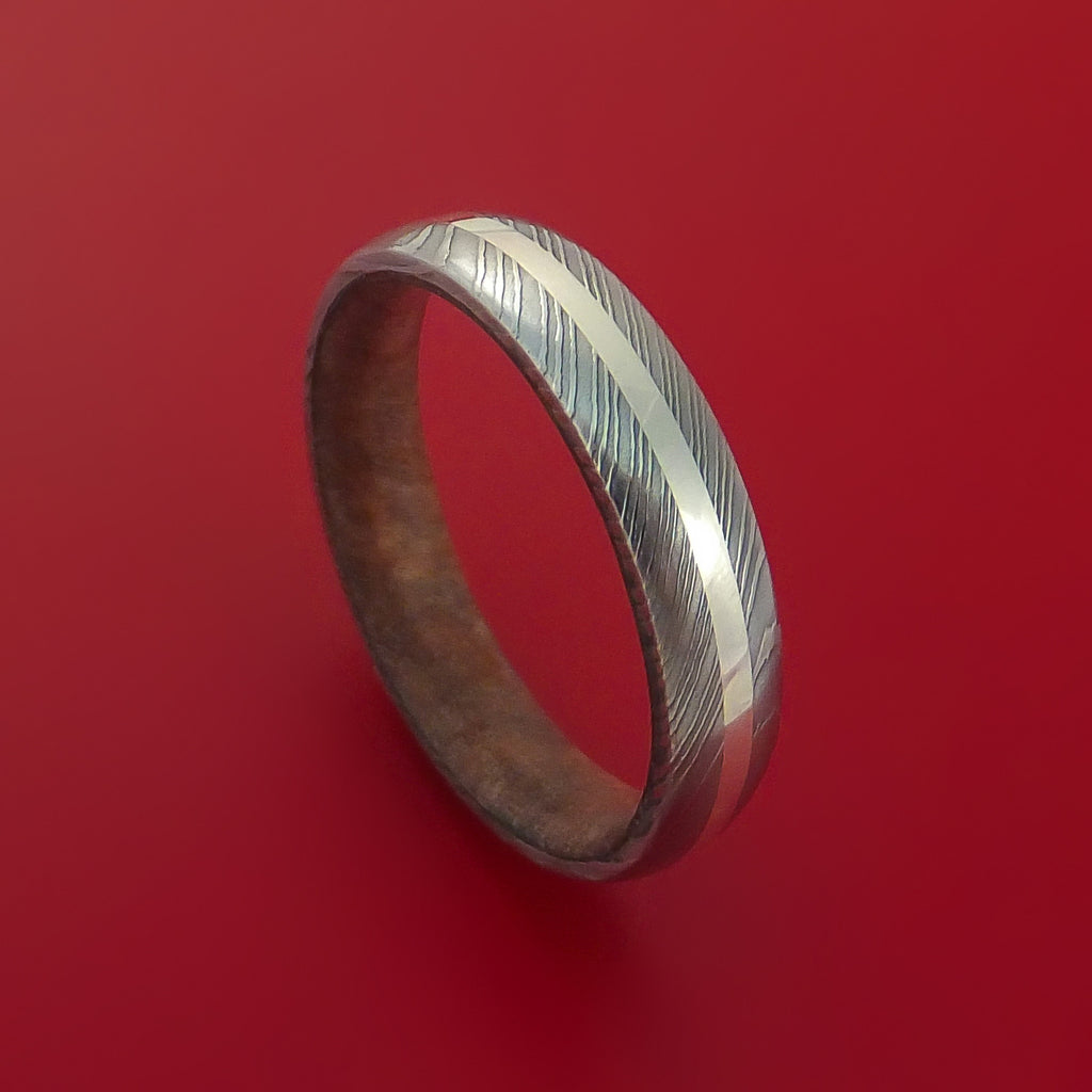 Damascus Steel Ring with 14K White Gold Inlay and Interior Hardwood Sleeve Custom Made Band