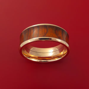 14k Rose Gold Ring with Hardwood Inlay Custom Made Band