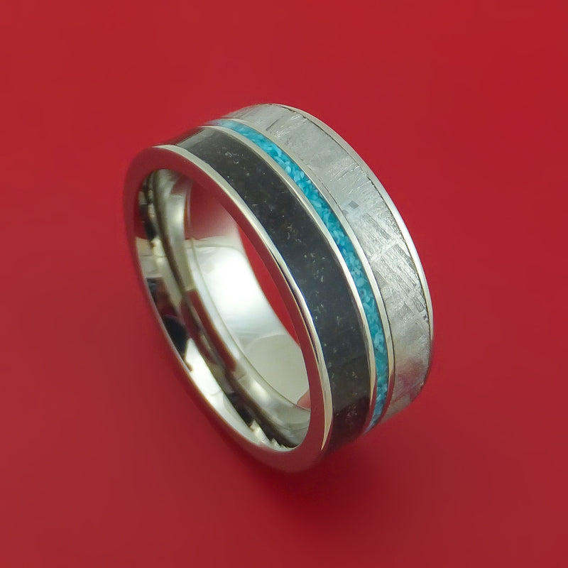 Titanium Ring with Gibeon Meteorite Dinosaur Bone and Turquoise Inlays Custom Made Band