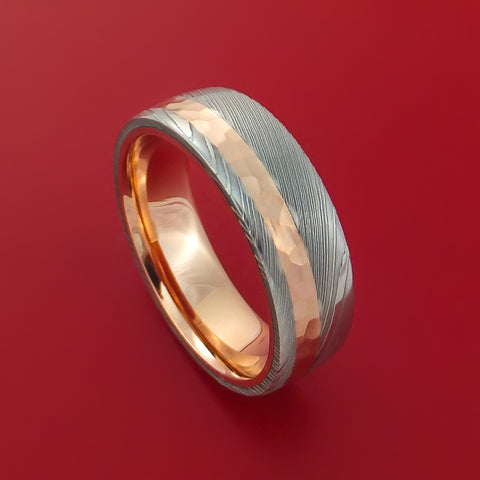 Damascus Steel Ring with 14K Rose Gold Hammered Inlay and Gold Sleeve Custom Made Band by Stonebrook Jewelry