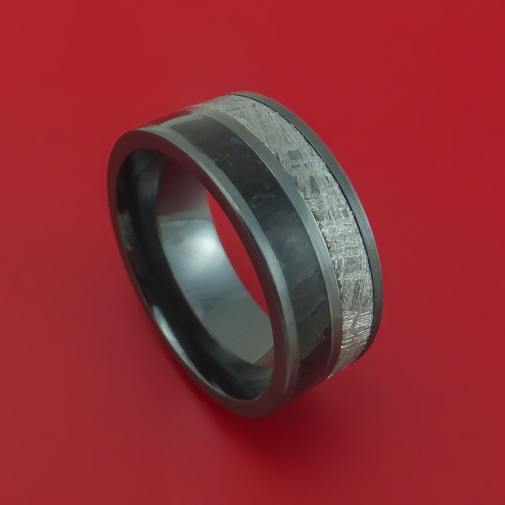 Black Zirconium Ring with Dinosaur Bone and Gibeon Meteorite Inlays Custom Made Band