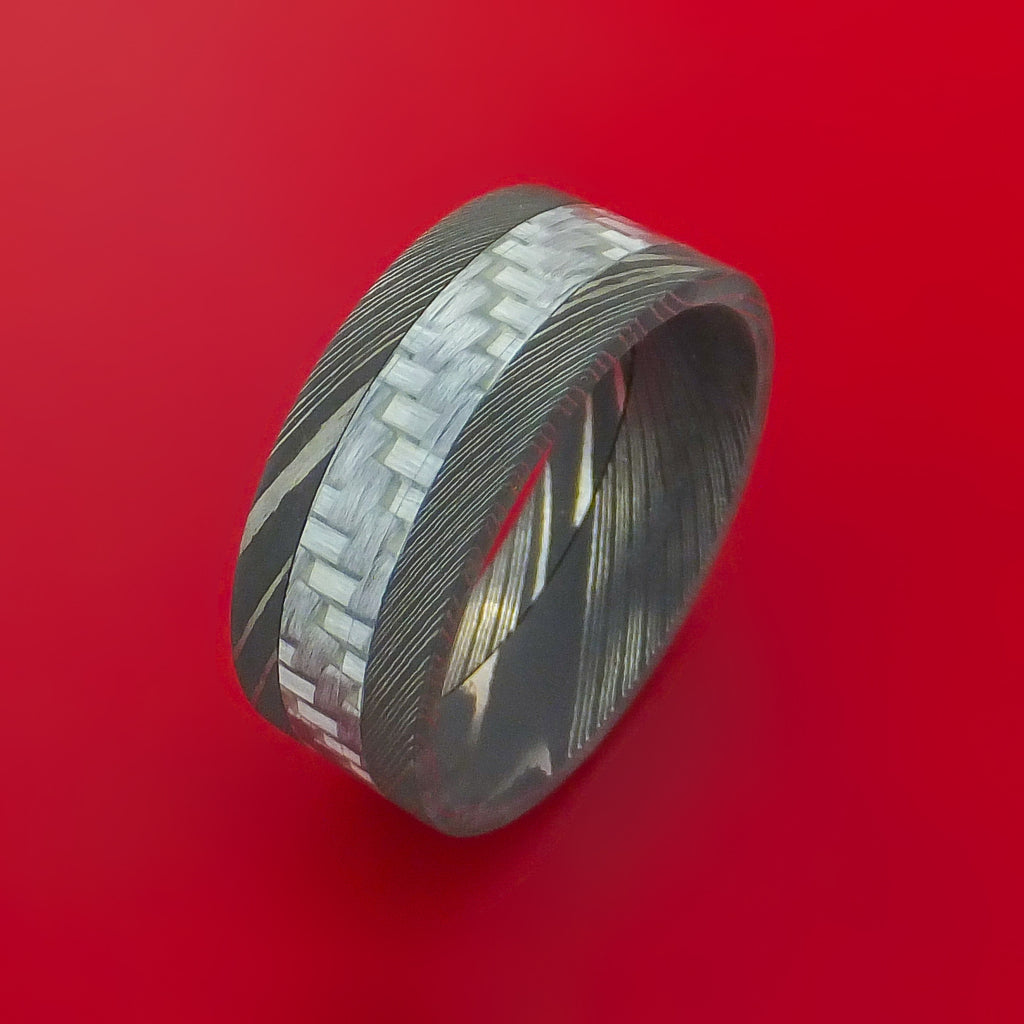 damascus steel and carbon fiber ring custom made band stonebrook jewelry. Black Bedroom Furniture Sets. Home Design Ideas