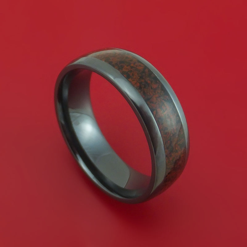 Black Zirconium Ring with Dinosaur Bone Inlay Custom Made Band