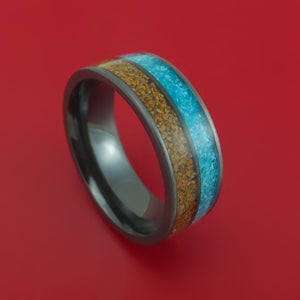 Black Zirconium Ring with Dinosaur Bone and Turquoise Inlays Custom Made Band