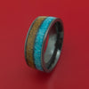 Black Zirconium Tan Dinosaur Bone and Turquoise Ring Custom Made Fossil Band