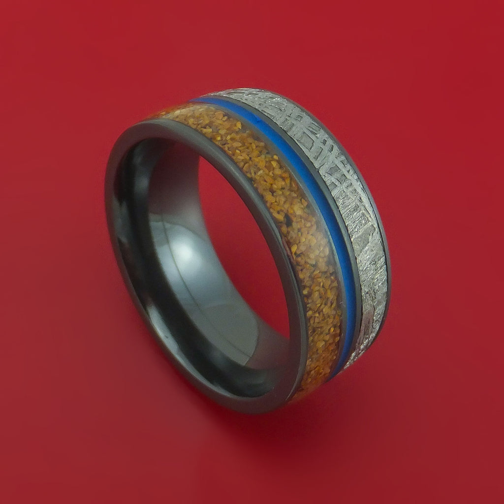 Black Zirconium Ring with Dinosaur Bone Gibeon Meteorite and Cerakote Inlays Custom Made Band