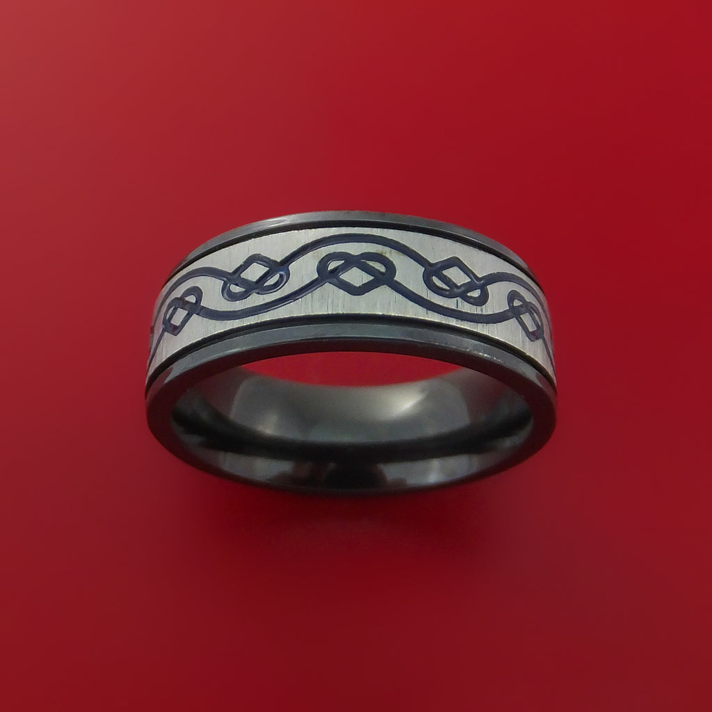 Black Zirconium Celtic Heart Ring Irish Knot Design Band Any Size Ring by Stonebrook Jewelry