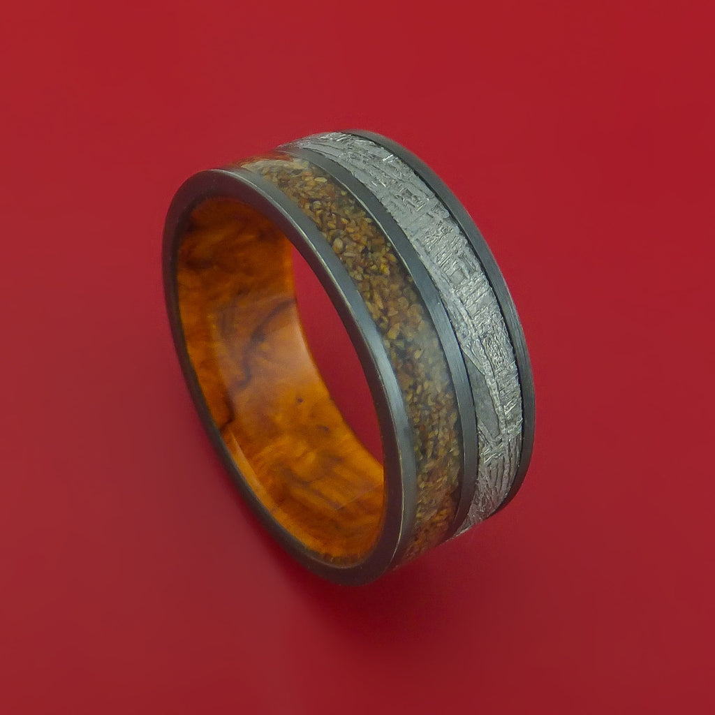 Black Zirconium Ring with Dinosaur Bone and Gibeon Meteorite Inlays and Interior Hardwood Sleeve Custom Made Band
