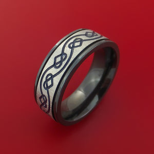 Black Zirconium Ring with Infinity Heart Milled Celtic Design Groove and Cerakote Inlays Custom Made Band