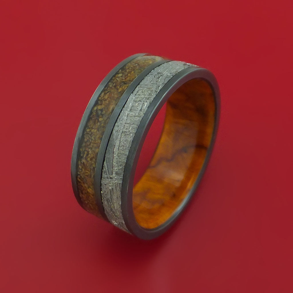 Black Zirconium Tan Dinosaur Bone and Gibeon Meteorite Ring with Desert Ironwood Burl Wood Sleeve Custom Made Fossil Band