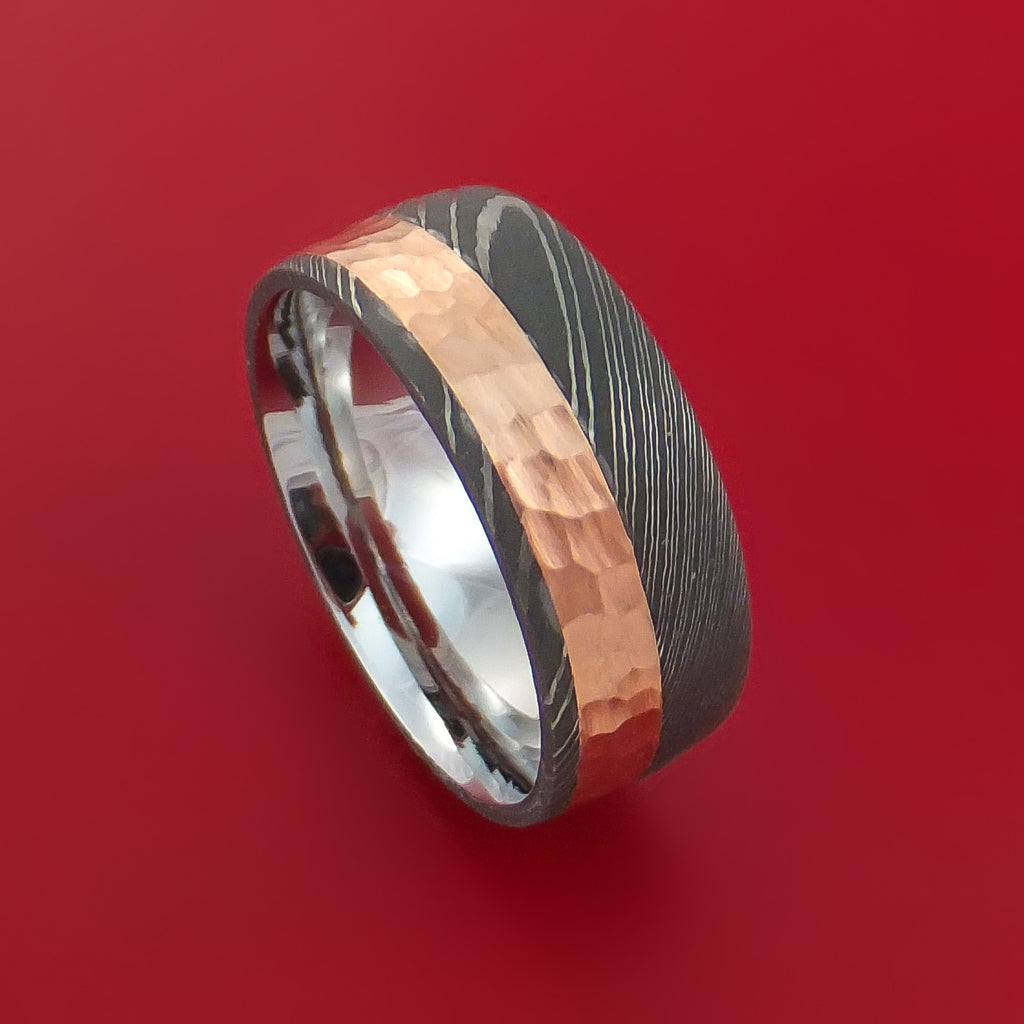 Damascus Steel Ring with 14K Rose Gold Hammered Inlay and Gold Sleeve Custom Made Band - Stonebrook Jewelry  - 1