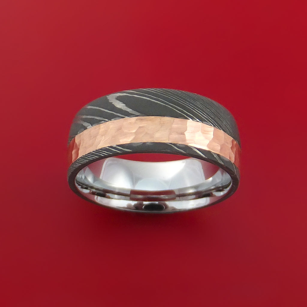 Damascus Steel Ring with 14K Rose Gold Hammered Inlay and Gold Sleeve Custom Made Band - Stonebrook Jewelry  - 2