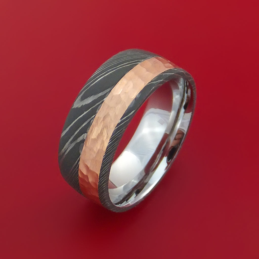 Damascus Steel Ring with 14K Rose Gold Hammered Inlay and Gold Sleeve Custom Made Band - Stonebrook Jewelry  - 3