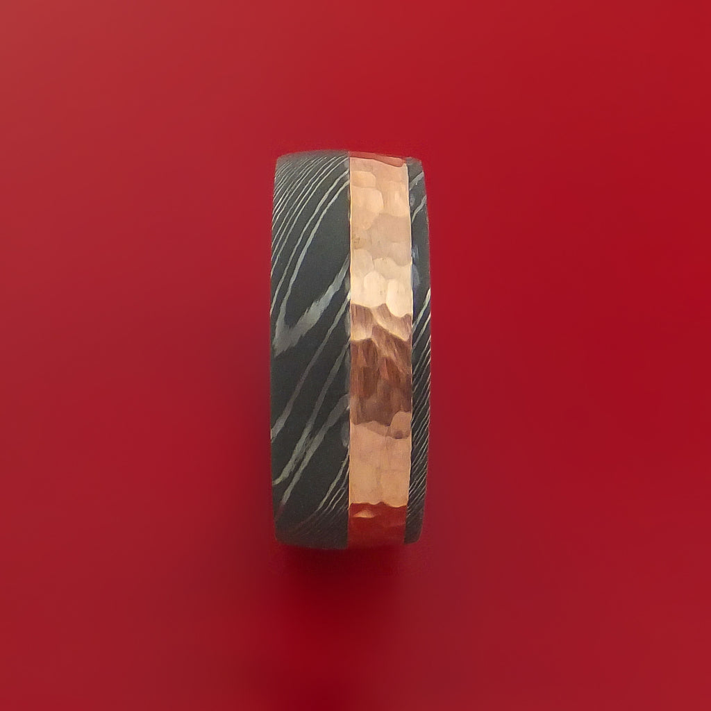 Damascus Steel Ring with 14K Rose Gold Hammered Inlay and Gold Sleeve Custom Made Band - Stonebrook Jewelry  - 4