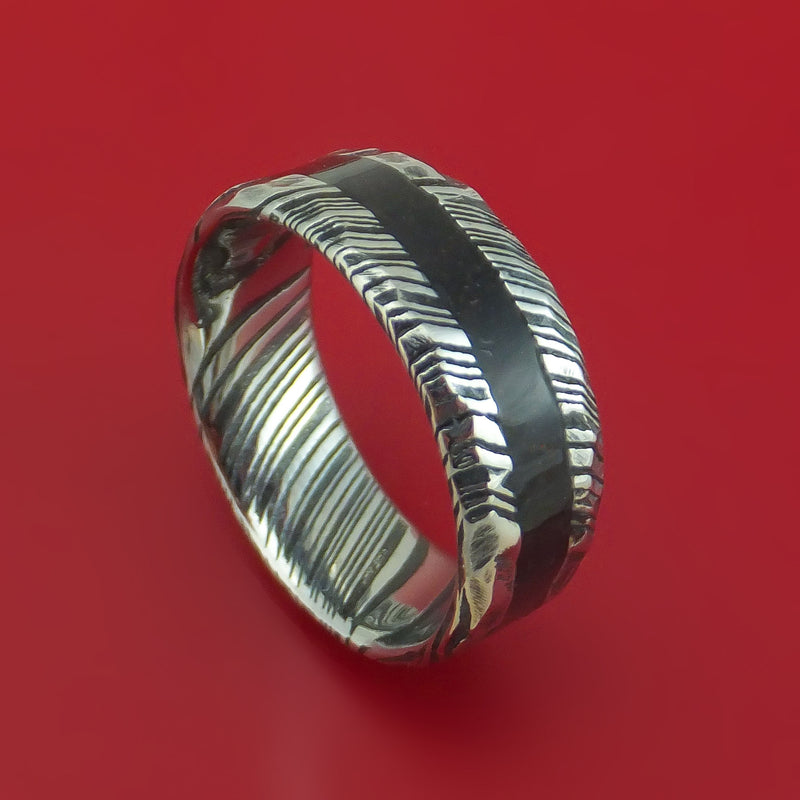 Kuro Damascus Steel Ring with Dinosaur Bone Inlay Custom Made Band