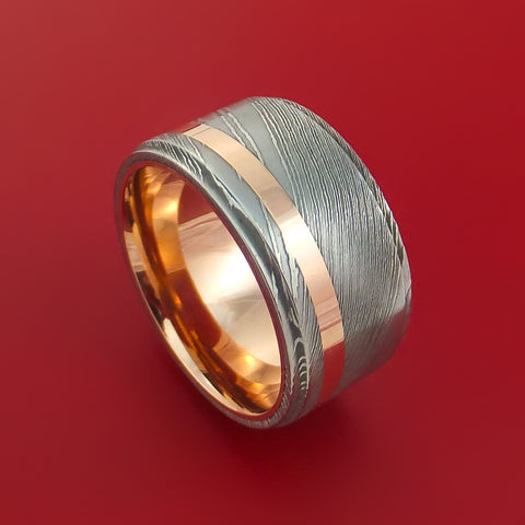Damascus Steel 14K Rose Gold Ring with Gold Sleeve Wedding Band Custom Made by Stonebrook Jewelry
