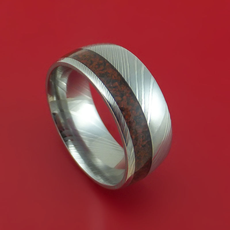 Damascus Steel Ring with Dinosaur Bone Inlay Custom Made Band