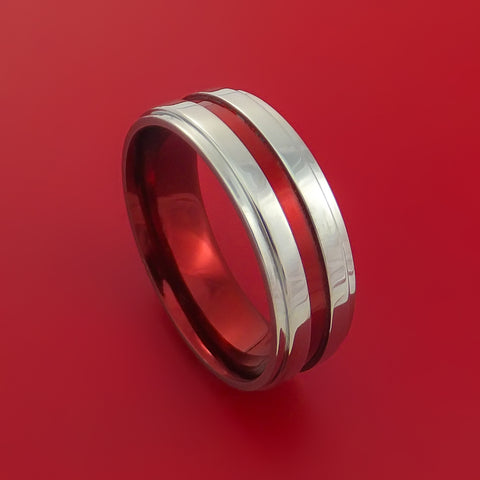 Titanium Band Custom Red Metalic Anodized Color Design Ring Any Size Band