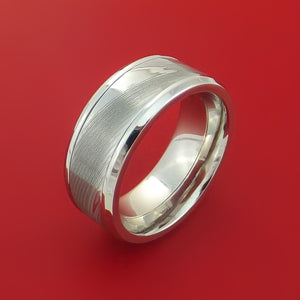 Cobalt Chrome Ring with Damascus Steel Inlay Custom Made Band