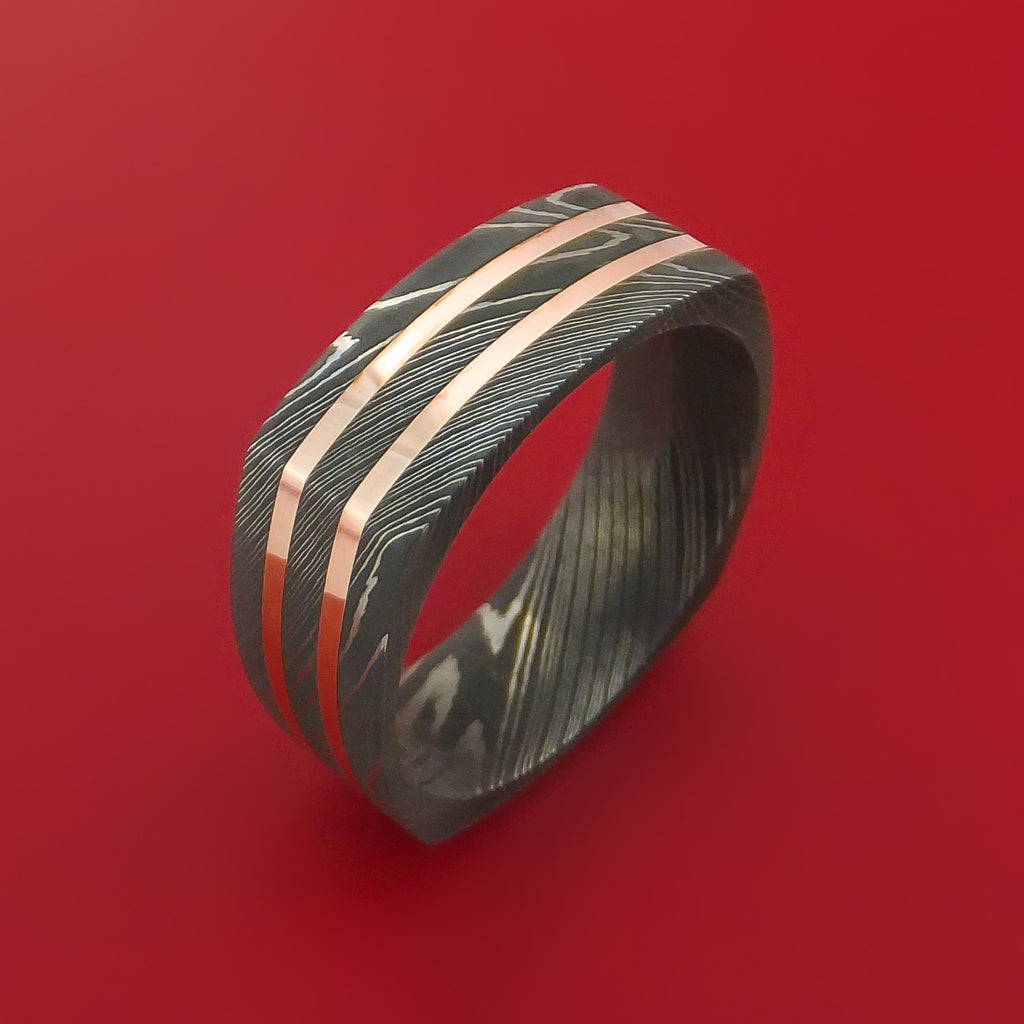 Squared Damascus Steel Ring with 14k Rose Gold Inlays Custom Made Band by Stonebrook Jewelry