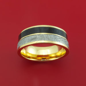 14k Yellow Gold Ring with Dinosaur Bone and Gibeon Meteorite Inlays Custom Made Band
