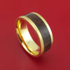 14k Yellow Gold Ring with Dinosaur Bone Inlay Custom Made Band