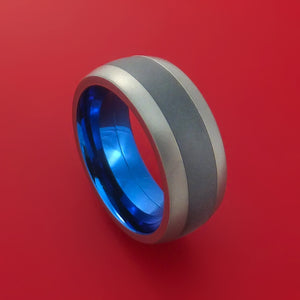 Titanium Ring with Black Zirconium Inlay and Interior Anodized Sleeve Custom Made Band