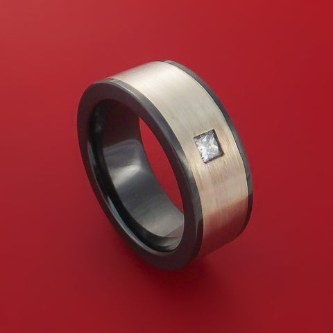 Black Zirconium Ring with Wide 14K White Gold Inlay and Beautiful Diamond Custom Made Band