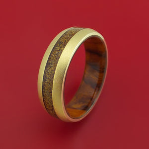 14k Yellow Gold Ring with Dinosaur Bone Inlay and Interior Hardwood Sleeve Custom Made Band