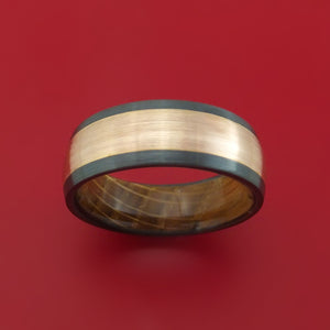 Black Zirconium Ring with 14k Rose Gold Inlay and Interior Hardwood Sleeve Custom Made Band