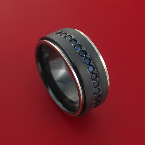 Black Zirconium Band with 14K White Gold Edges and 12 Beautiful Sapphires