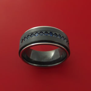 Black Zirconium Ring with Sapphires and 14k White Gold Edges Custom Made Band